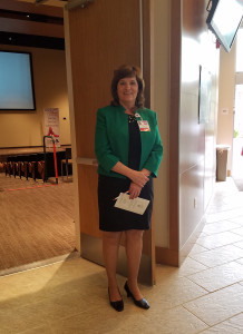 Mary Reina, director of Antelope Valley Hospital Forensic Services Unit, getting ready to speak at the event.