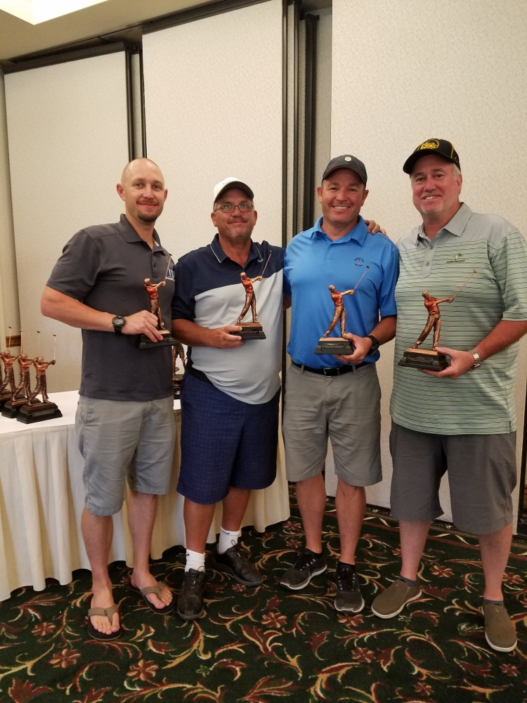 Third-place men's team, from left: Anthony McWhirter, Matt Smith, David McWhirter, Gregg Liske.